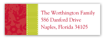 Red Snowy Grosgrain Address Label