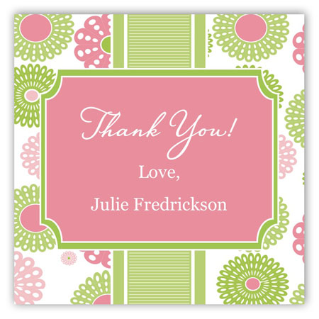 Retro Pink Green Flowers Square Sticker