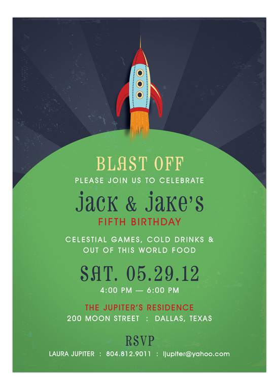 Retro Rocket Invitation