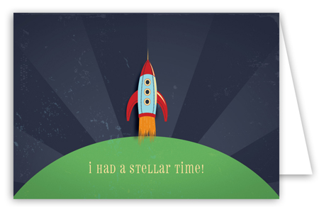 Retro Rocket Note Card