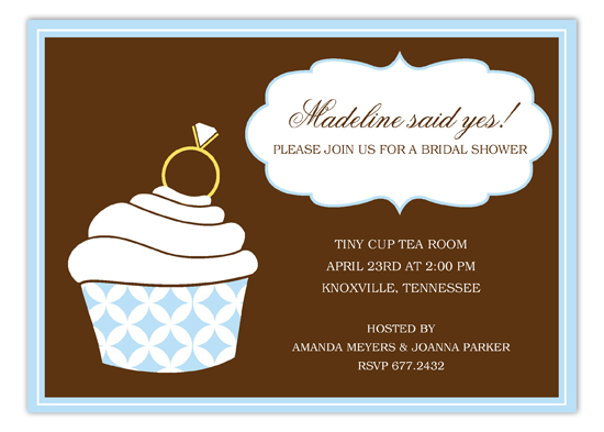 Ring Bling Blue Cupcake Invitation