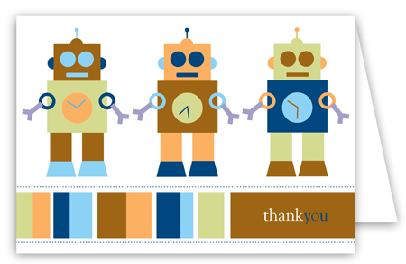 Robot Dots Folded Note Card