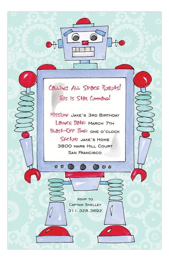 Rosanne Beck Robot Invitation : Personalized Birthday Invitations & Cards | PolkaDotDesign.com