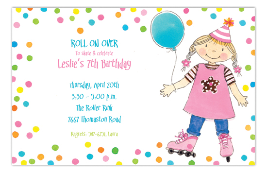 Rollerblading Party Girl Invitation