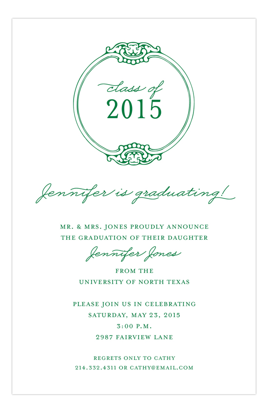 Round Emblem Green Invitation