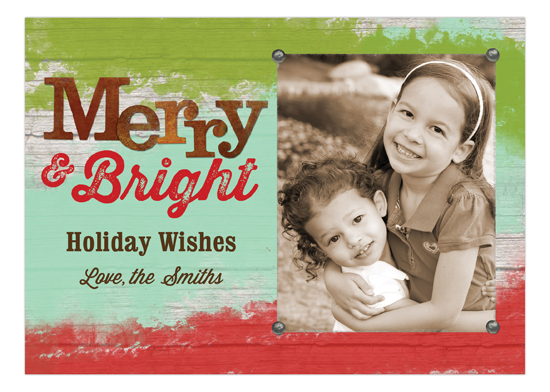 Rustic Merry And Bright Photo Card