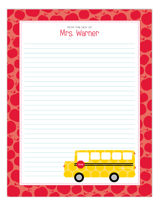 School Days Lined Notepad