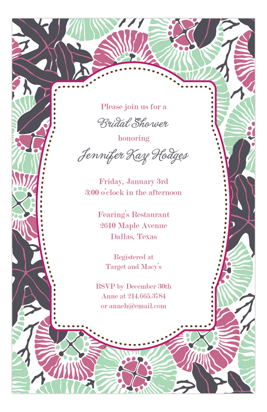 Sea Anemone Winter Bridal Shower Invitations