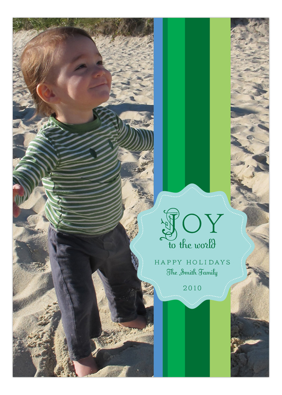 Shades of Green Stripes  Photo Card