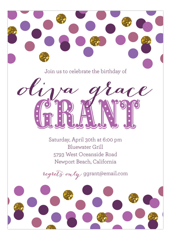 Shades of Radiant Orchid Confetti Invitation