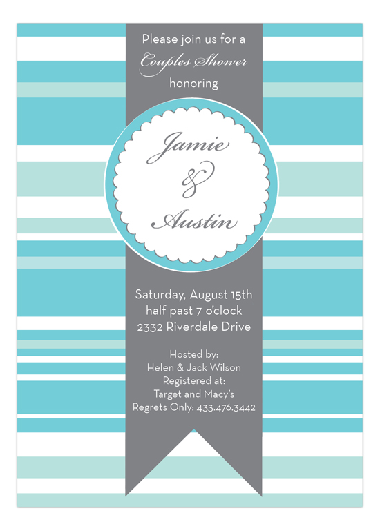 Shower Seal with Stripes Invitation