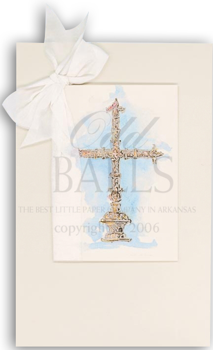 Silver Cross Blue Invitation