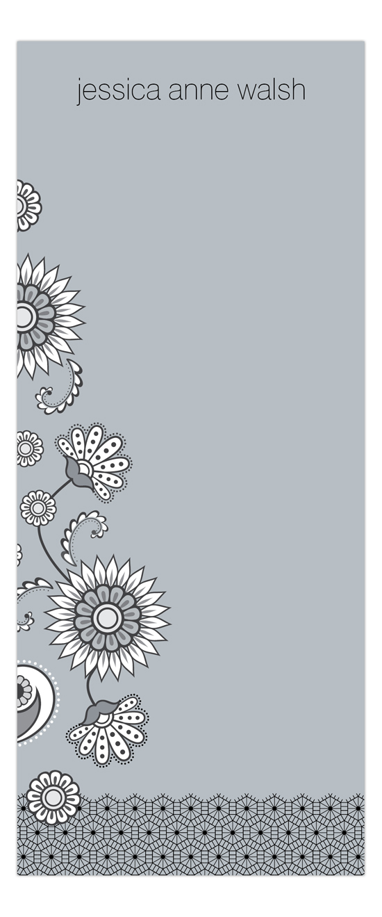 Silver Lace and Floral Skinny Notepad