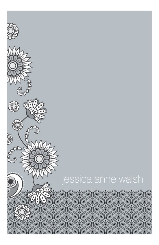 Silver Lace and Floral Notepad