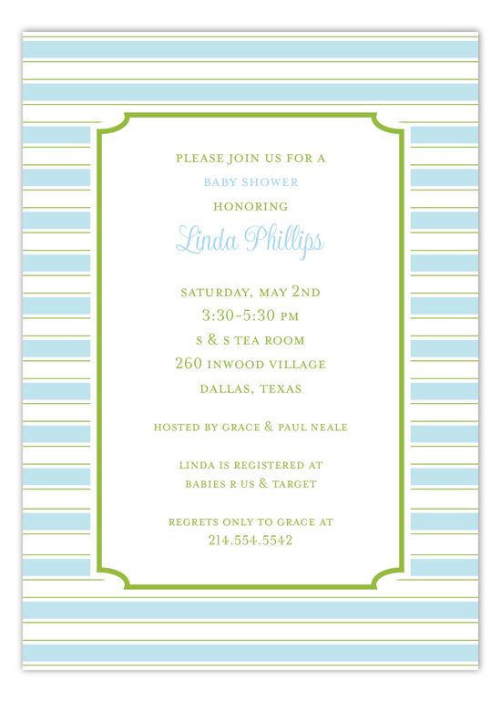 Simple Blue Stripes Invitation