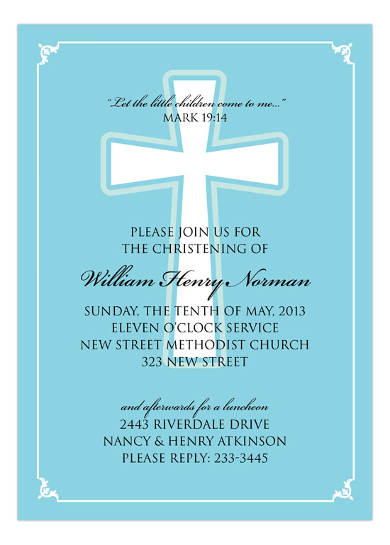 Simple Cross Boy Invitation