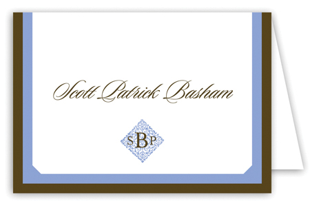 Simple Monogram Blue Note Card