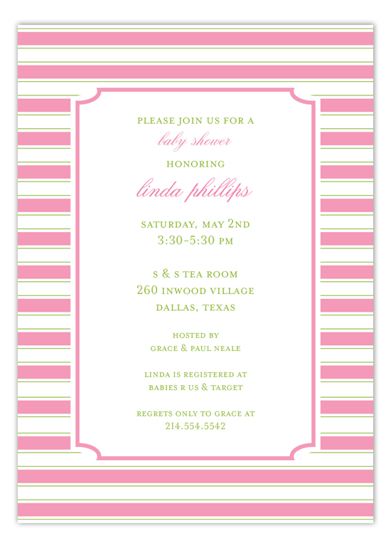 Simple Pink Stripes Invitation