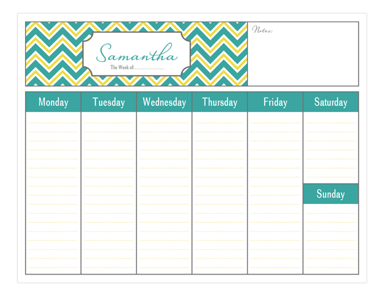 Weekly Calendar Design : Simply organized weekly personalized calendars pad