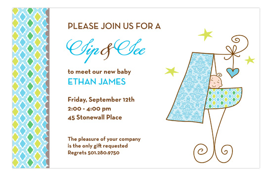 Sip And See Baby Boy Invitation