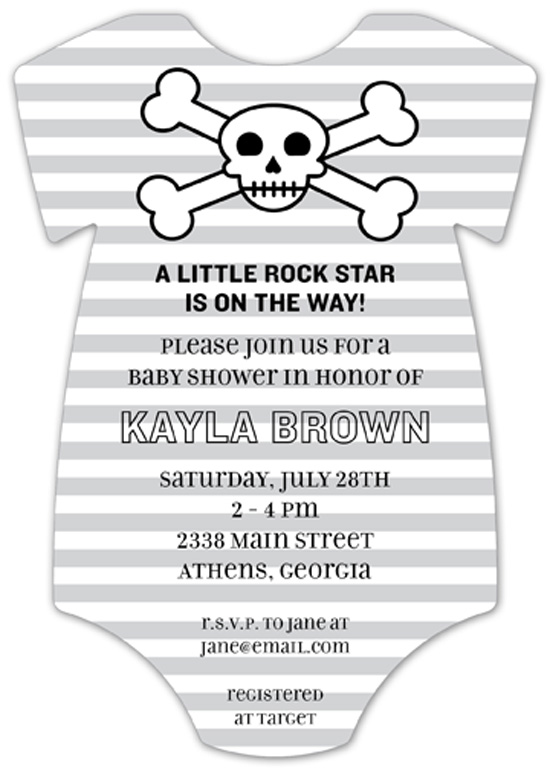 Skull and Crossbones Onesie Invitation