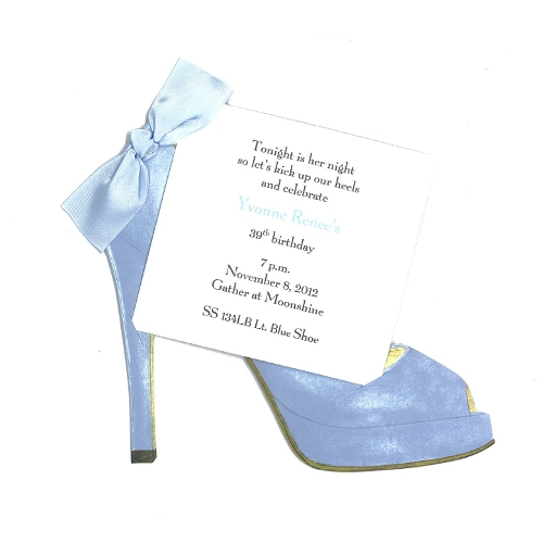 Light Blue High Heel Quinceanera Invitations with Glitter