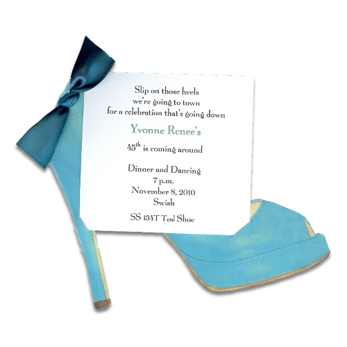 Teal High Heel Invitation