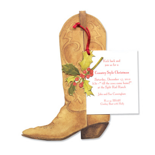 Cowboy Boot with Holly Invitation