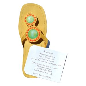 Turquoise and Coral Sandal Summer Invitations
