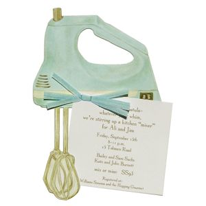 Retro Kitchen Blue Mixer Invitations