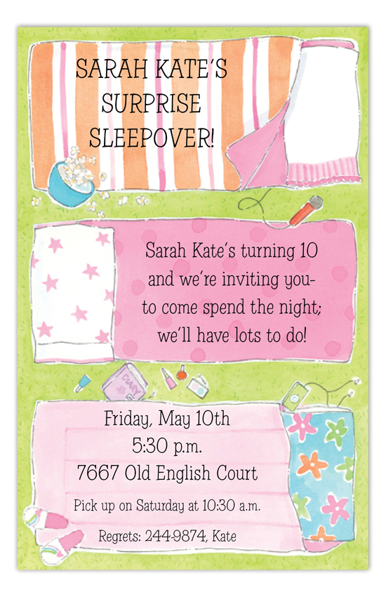 Sleeping Bag Slumber Party Invitation cute sleepover invitations