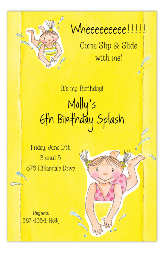 Slip N Slide Girl Invitation