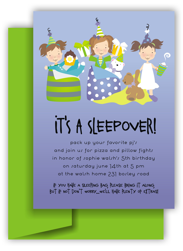 Its a Sleepover Slumber Party Invitation Polka Dot Design