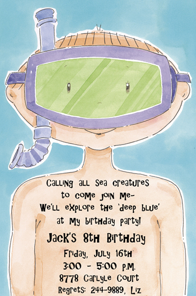 Snorkel Peter Boys Pool Birthday Invitations