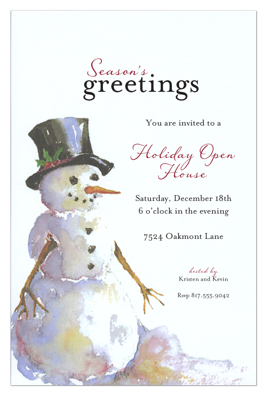 Calendar Design Options : Seasons greetings snowman holiday open house invitations
