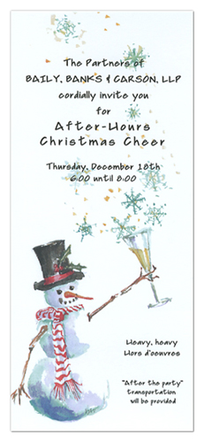 After Hours Christmas Cheer Snowman Invitations
