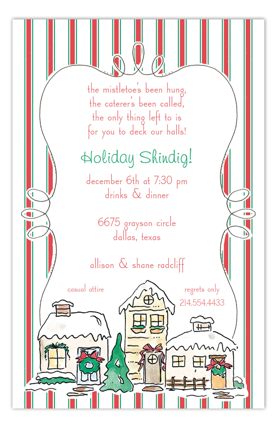 Snowy Houses Invitation
