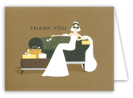 Sofa Glamour Girl Bridal Shower Thank You Card