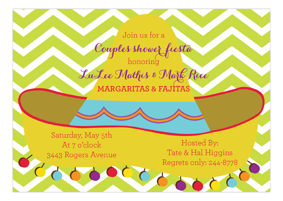Lime Chevron Sombrero Fiesta Party Invitations
