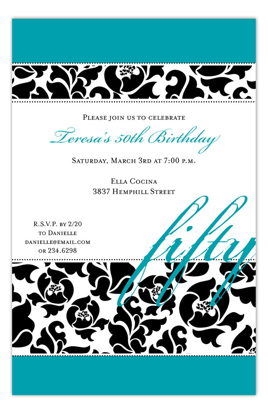 Sophisticated Fifty Invitation