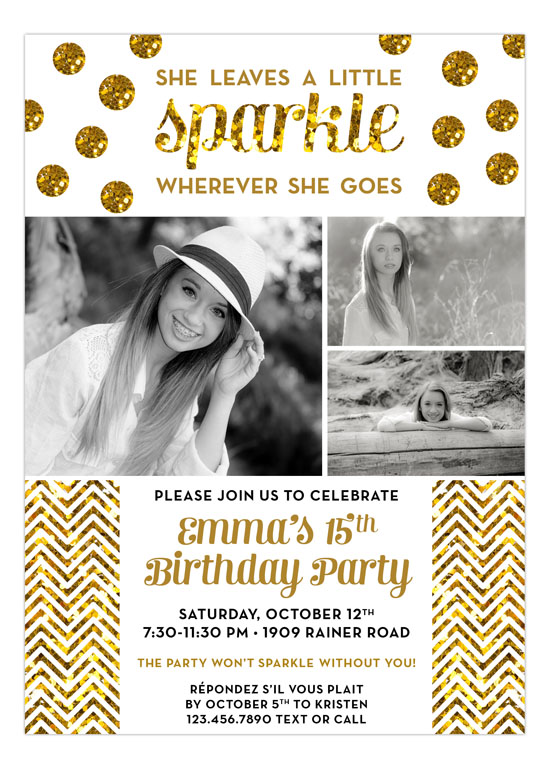 Glitter Sparkle Party Invitation