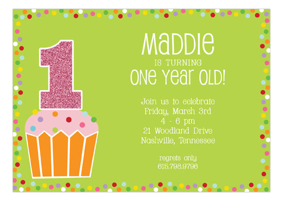 Sparkling Cupcake Girl Invitation