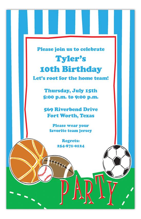 Sports Party Invitation Sports Birthday Party Ideas