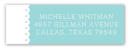 Spring Scalloped Aqua Address Label