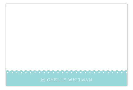 Spring Scalloped Aqua Flat Note Card