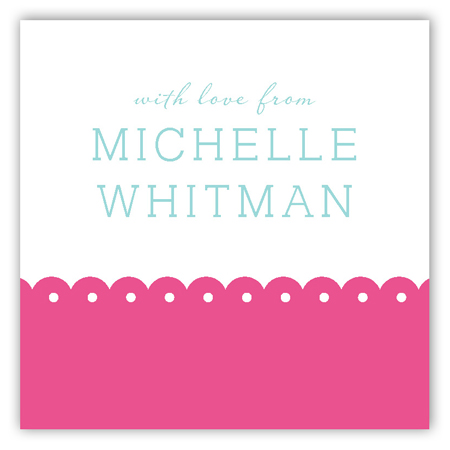 Spring Scalloped Pink Square Sticker