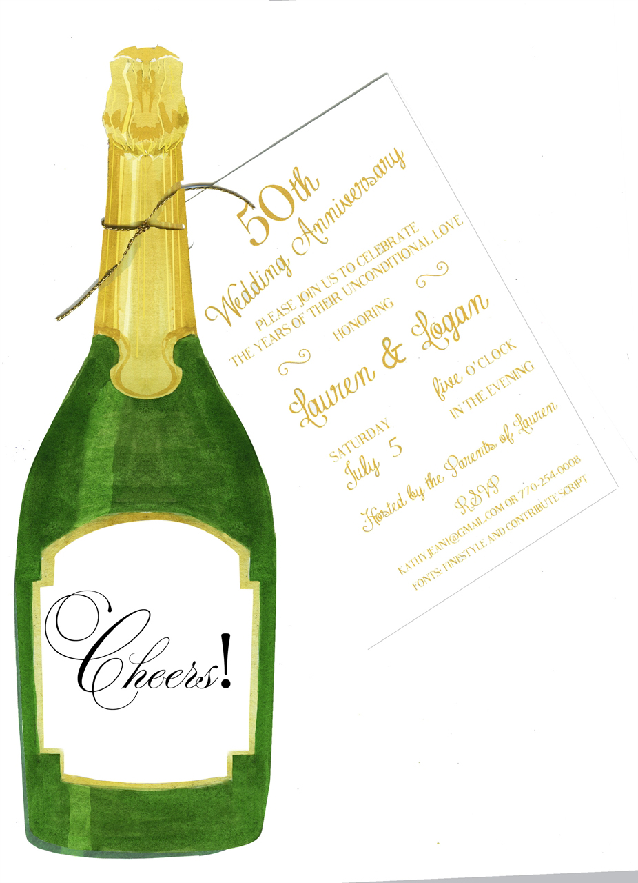 Champagne Bottle Party Invitation With Glitter