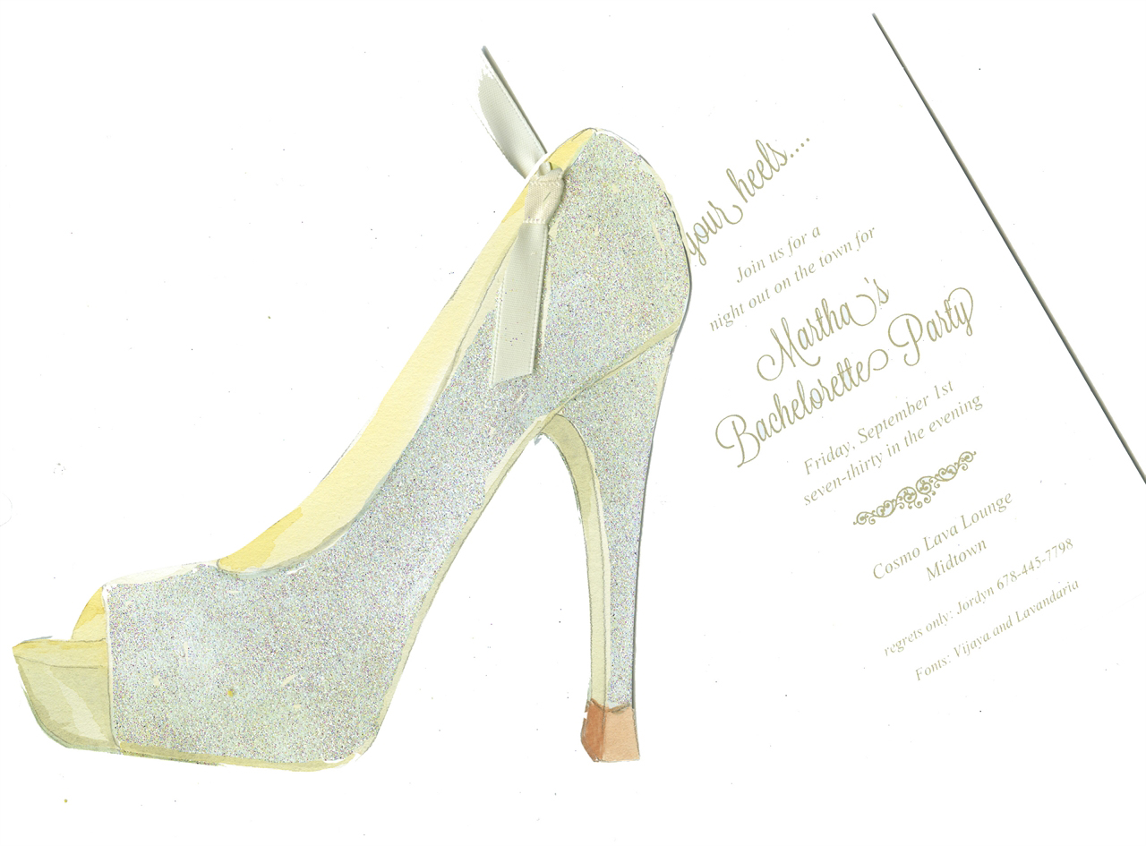 Glam Shoe Bridal Shower Invitation with Glitter