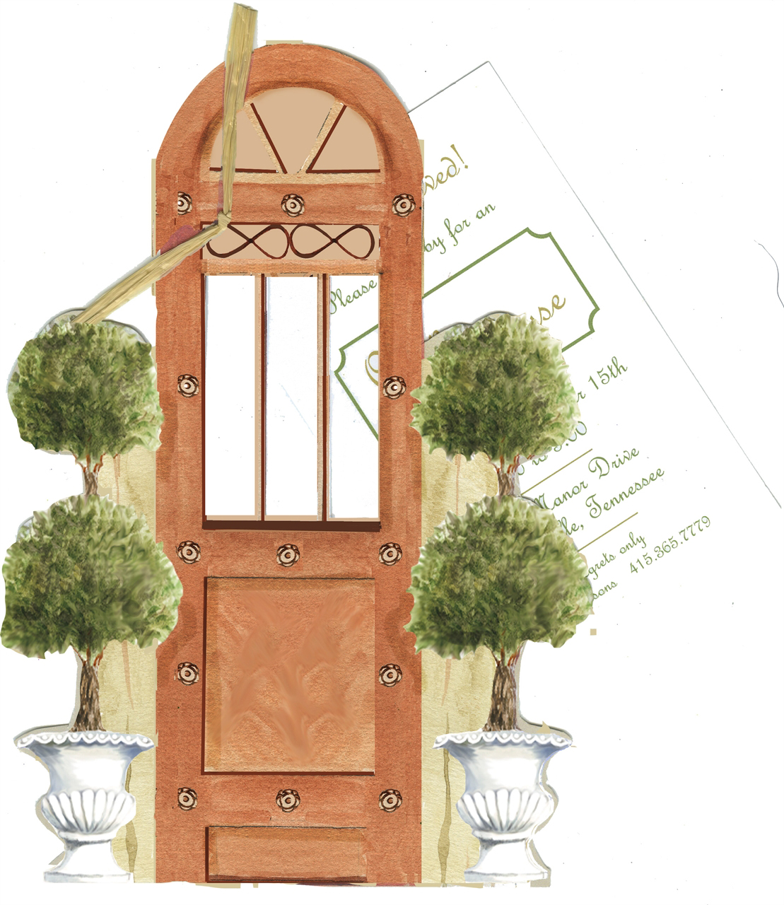 Door with Topiaries Moving Announcement