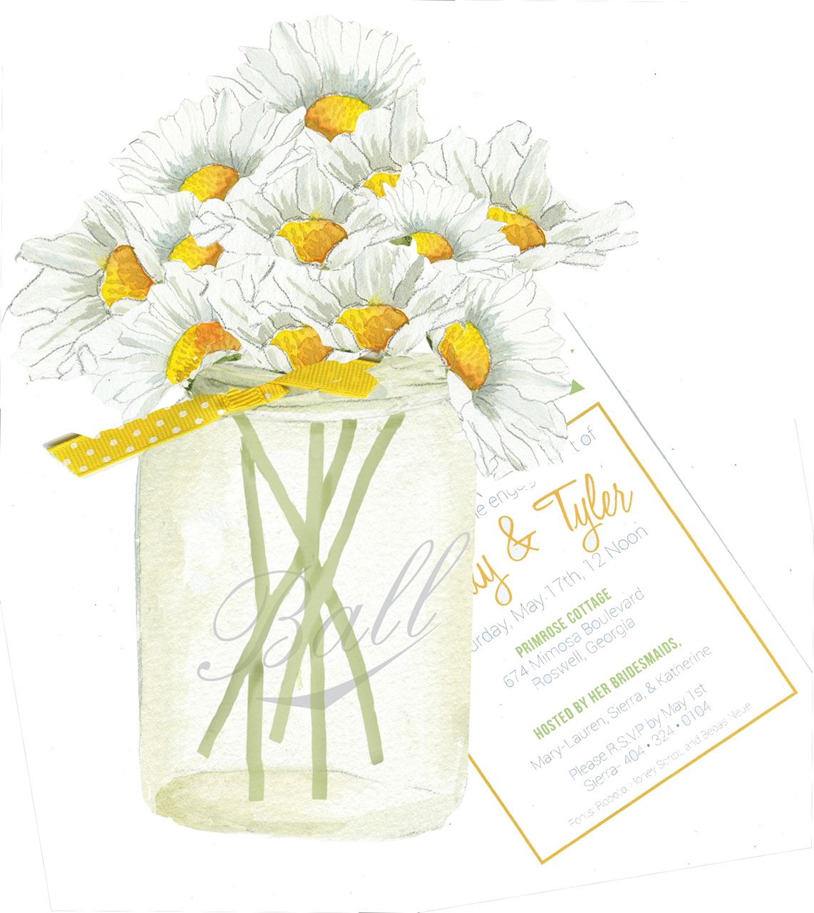 Daisies in a Jar Bridal Shower Invitation with Glitter